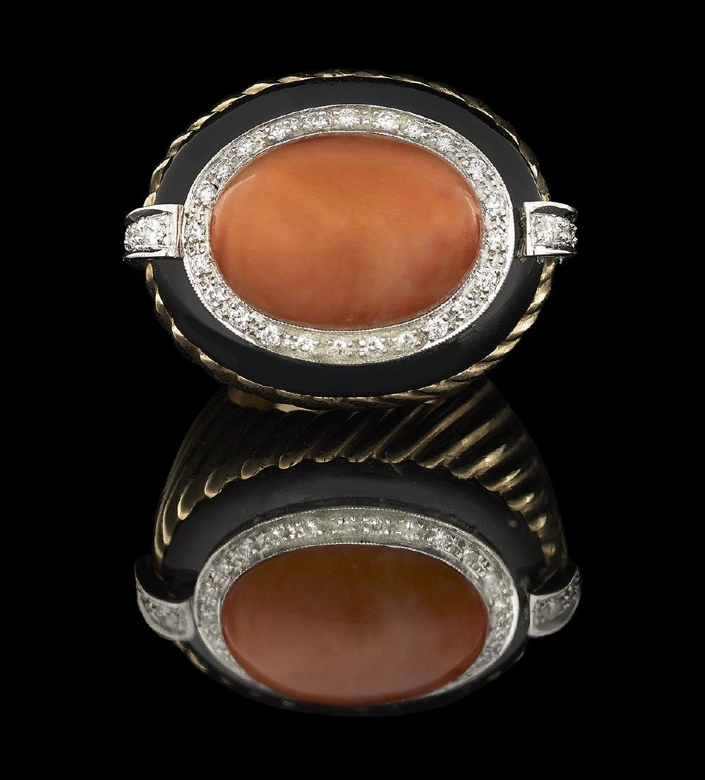 Coral, Diamond and Onyx Ring - 2