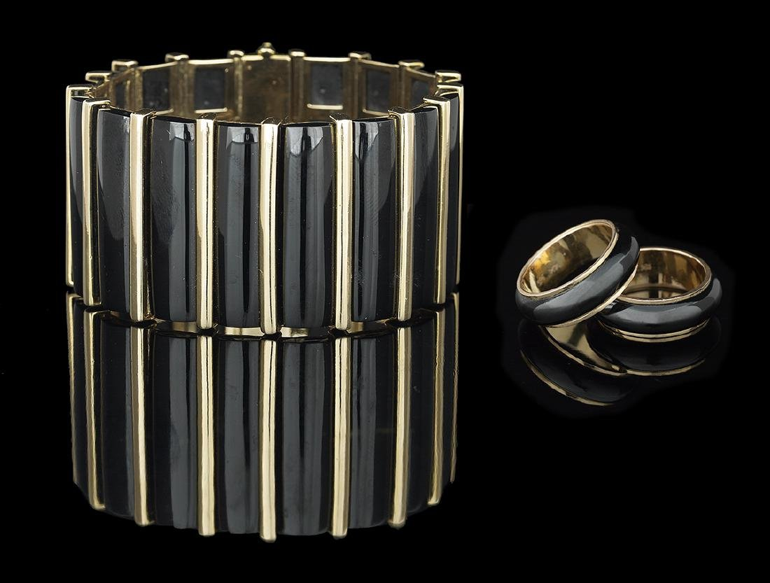 Gold and Onyx Bracelet and Rings