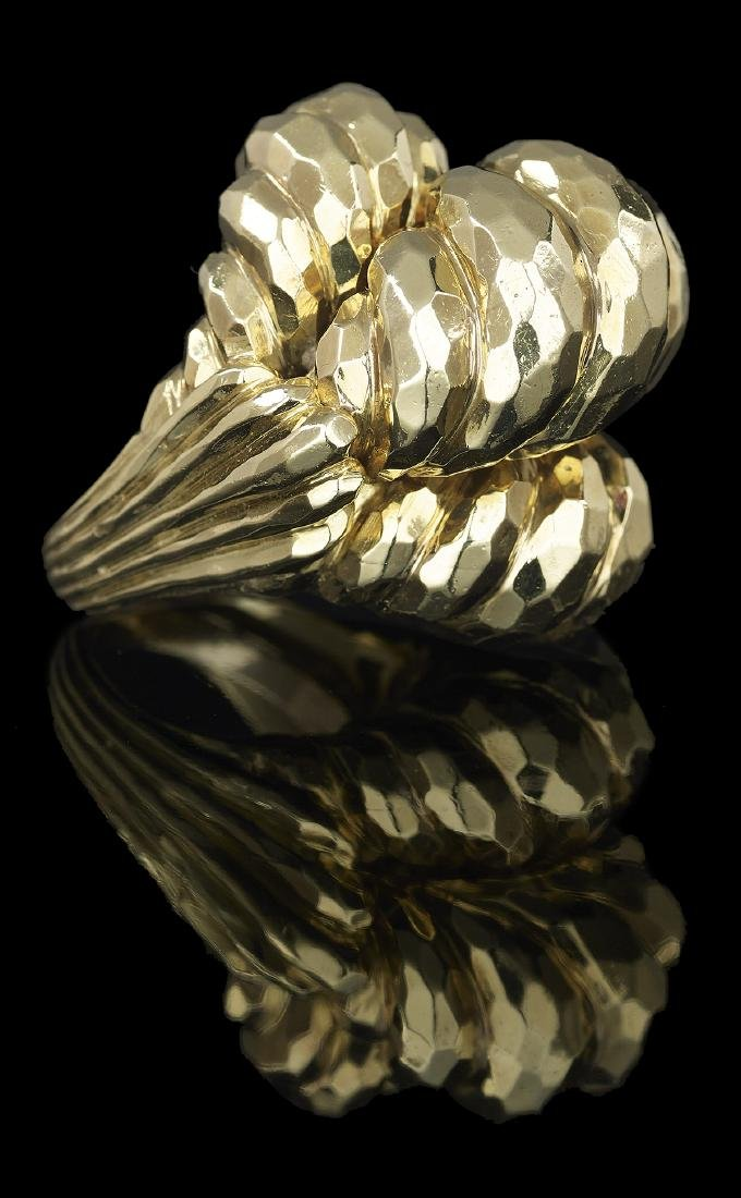 Henry Dunay Hammered Gold Ring - 2