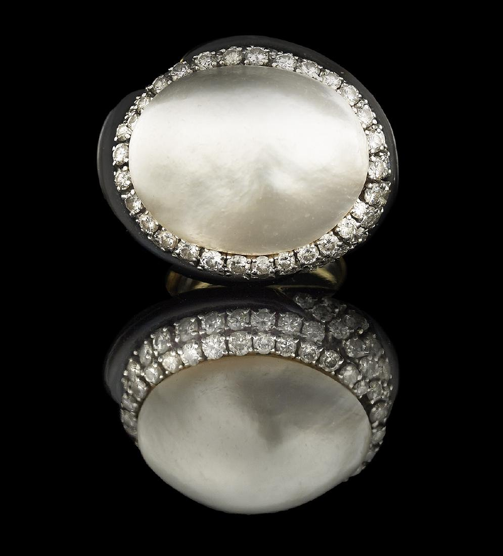 David Webb Pearl, Diamond and Enamel Ring