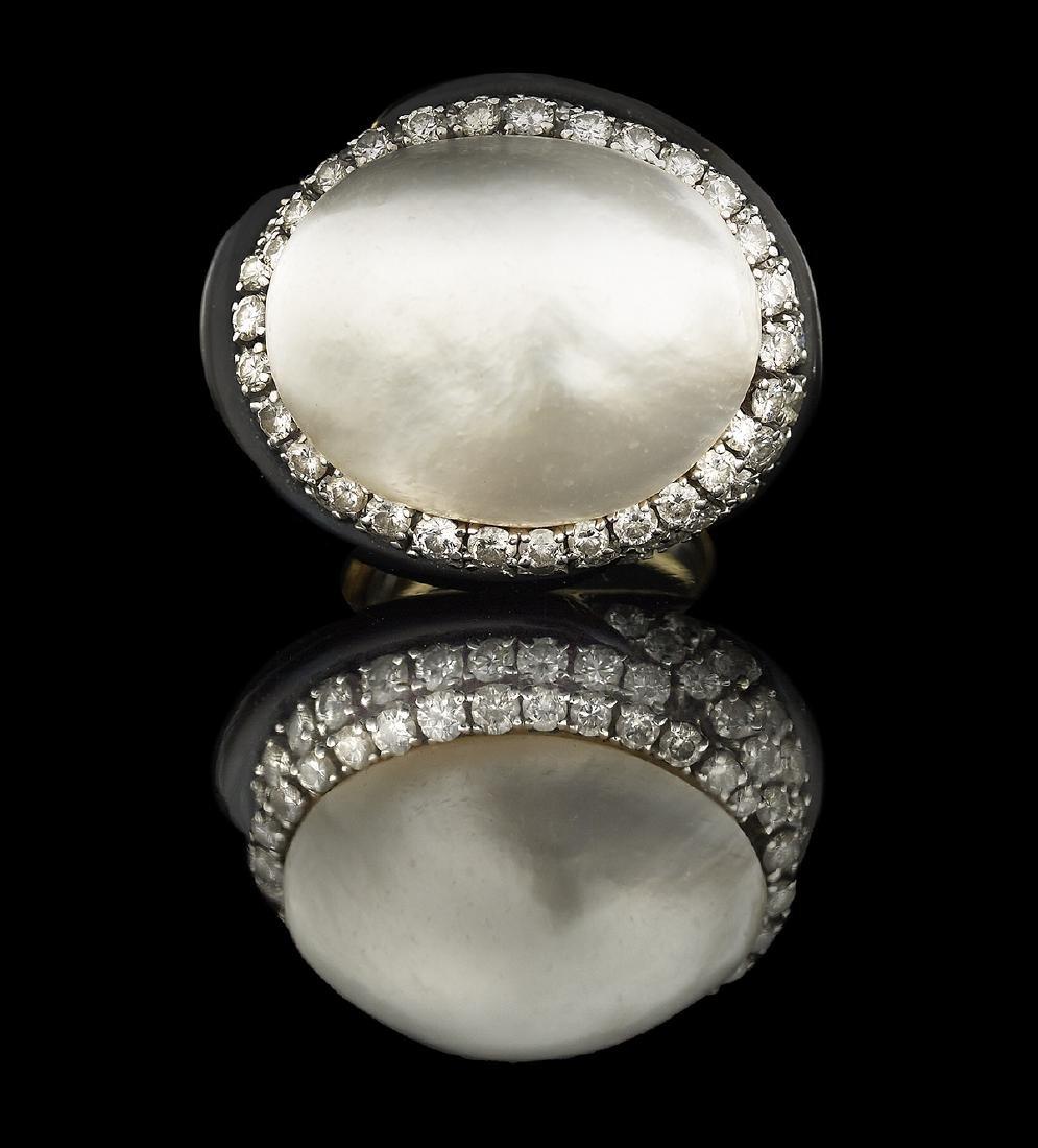 David Webb Pearl, Diamond and Enamel Ring
