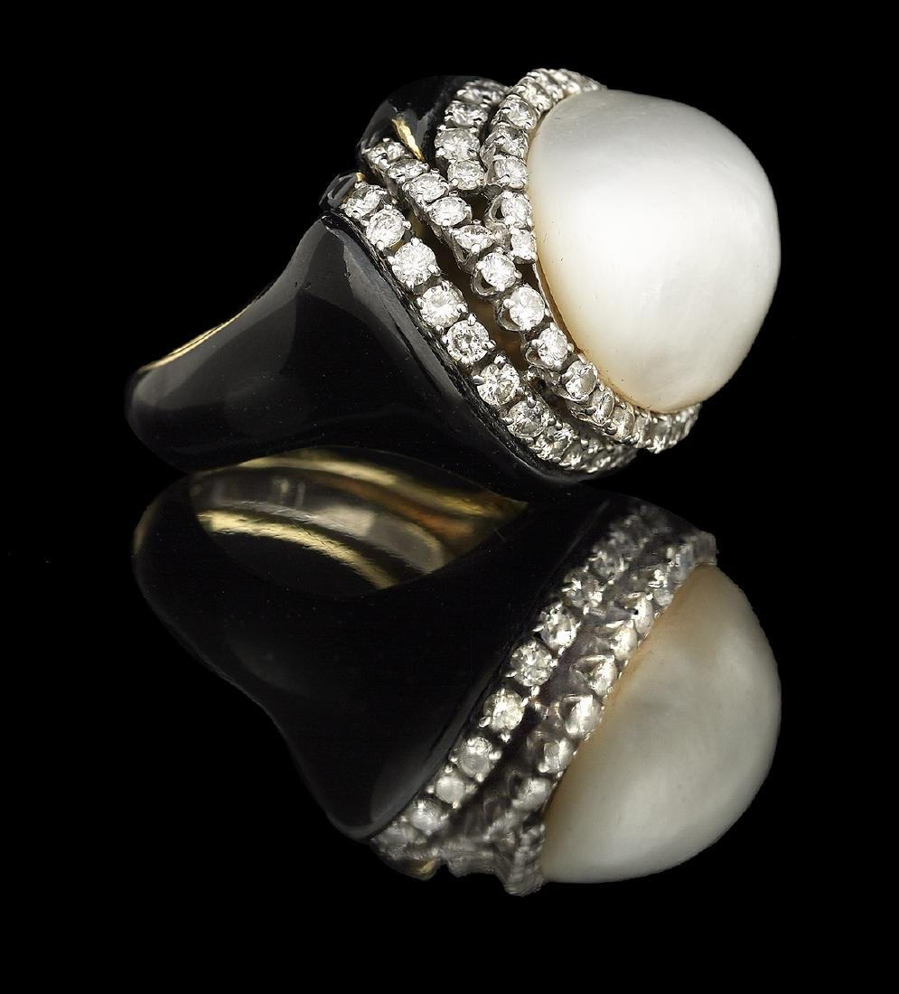 David Webb Pearl, Diamond and Enamel Ring - 2
