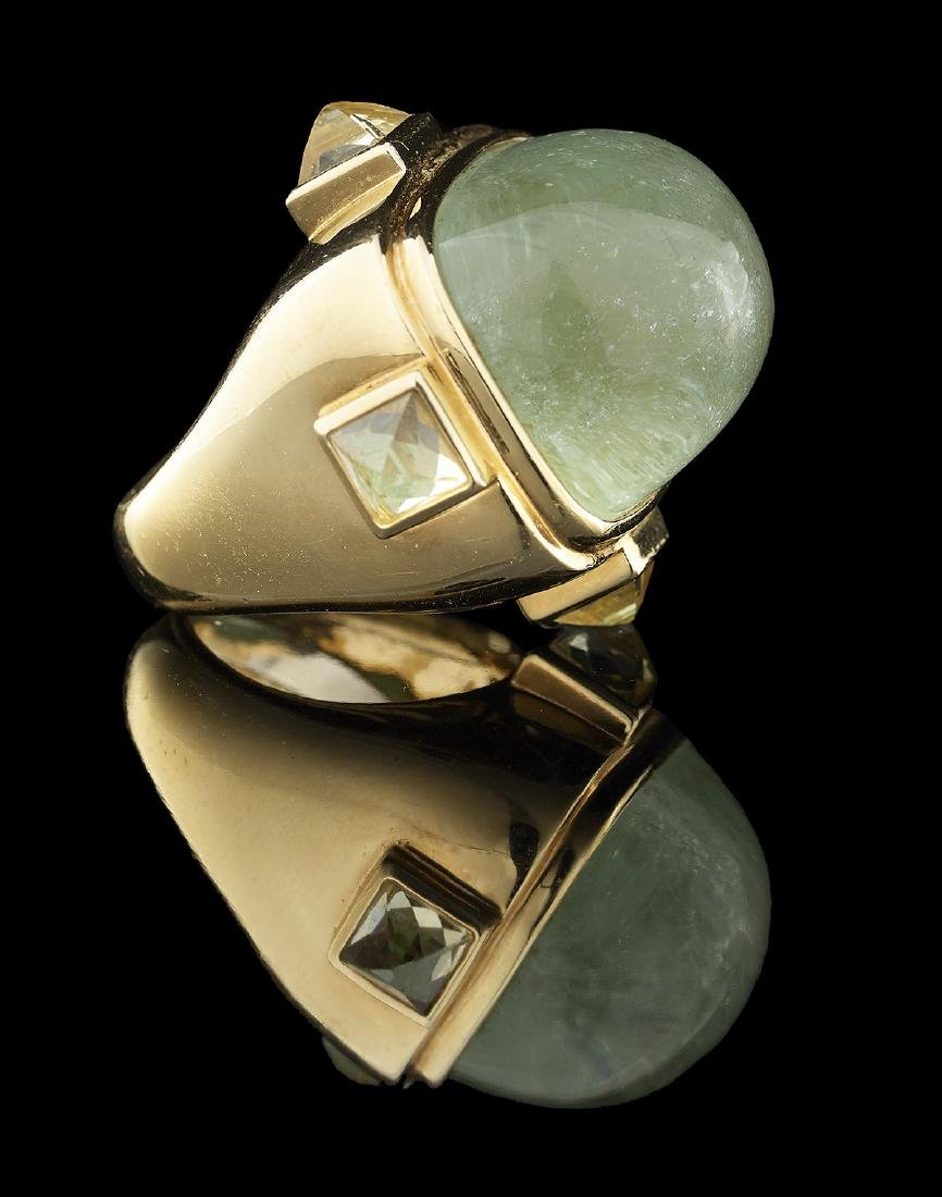 Unusual Gold and Green Beryl Ring - 2