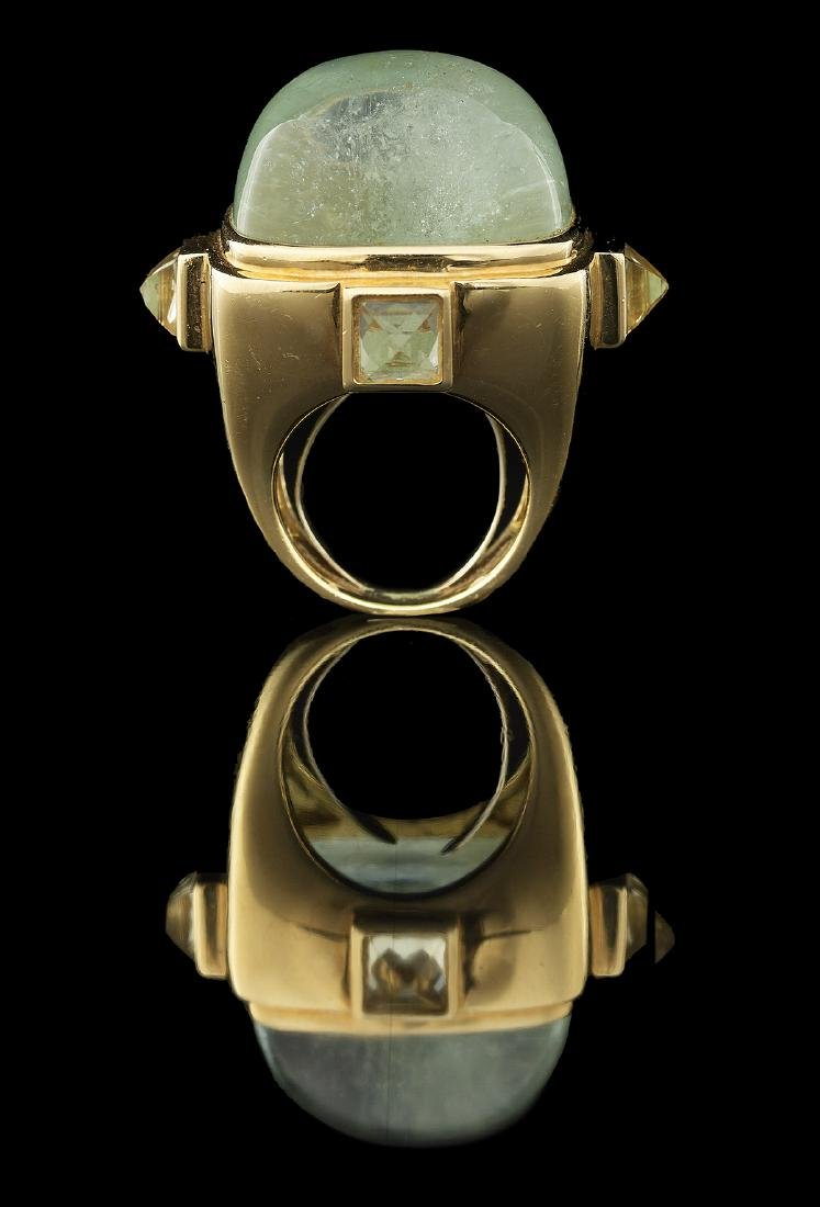 Unusual Gold and Green Beryl Ring - 3