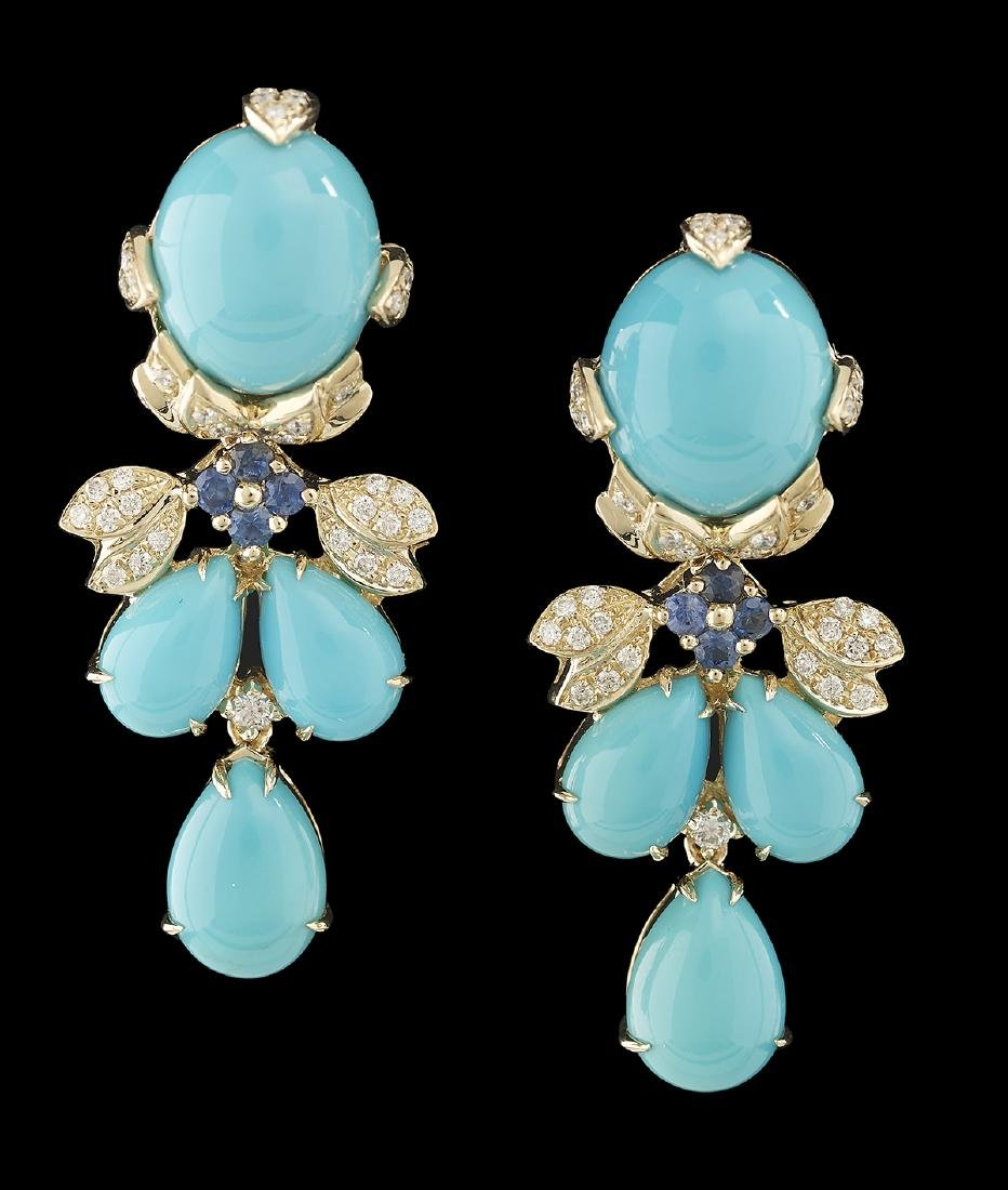 Turquoise, Sapphire and Diamond Earrings