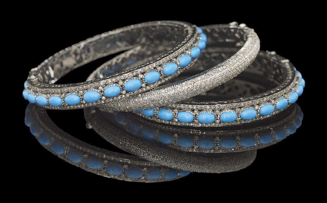 Turquoise and Diamond Bangle Bracelet Suite