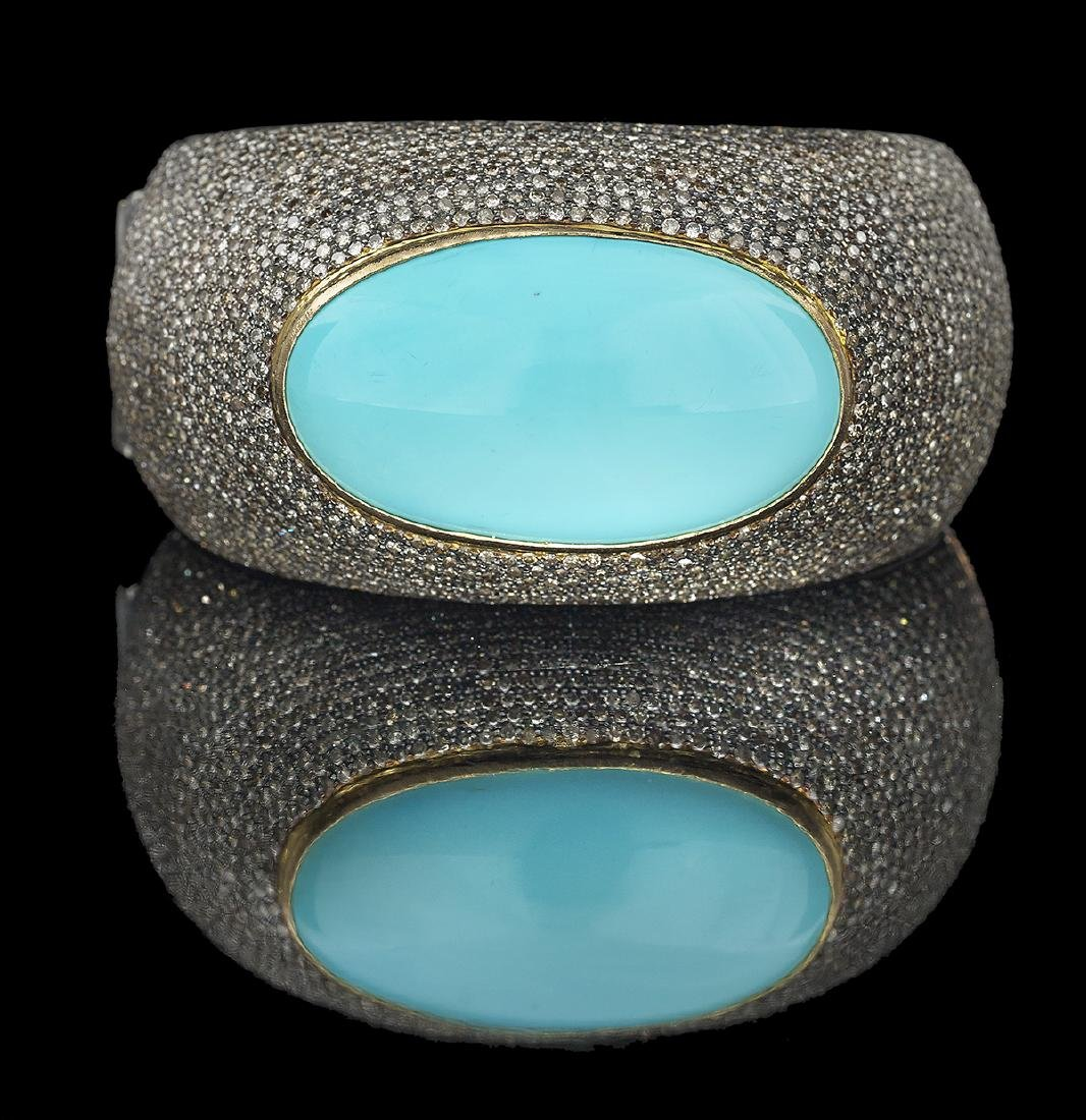 Turquoise and Diamond Bangle Bracelet