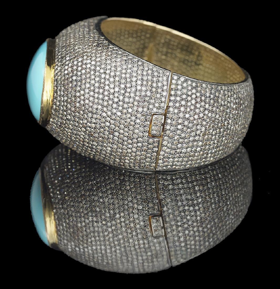 Turquoise and Diamond Bangle Bracelet - 2