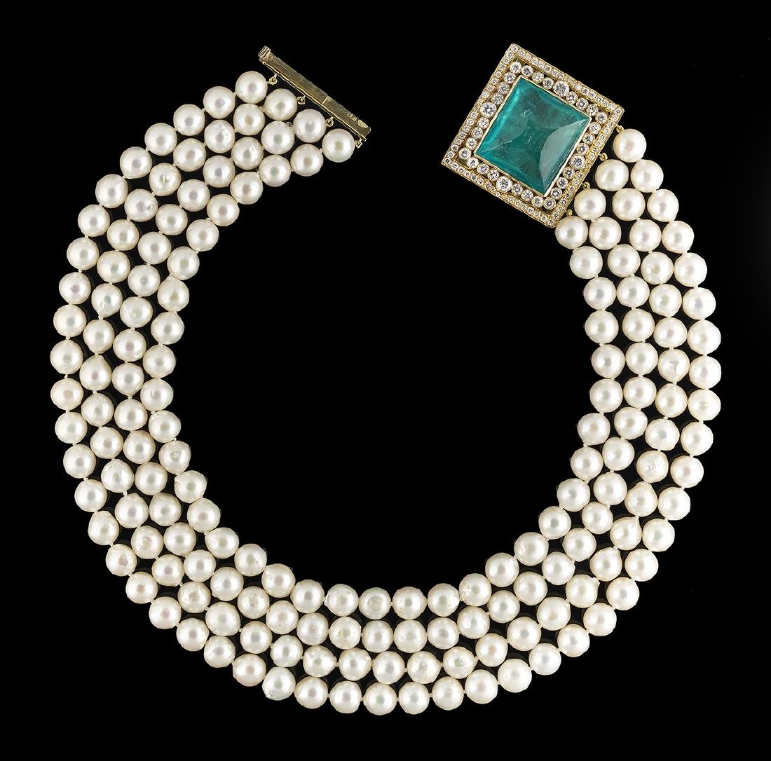 Pearl, Emerald and Diamond Necklace