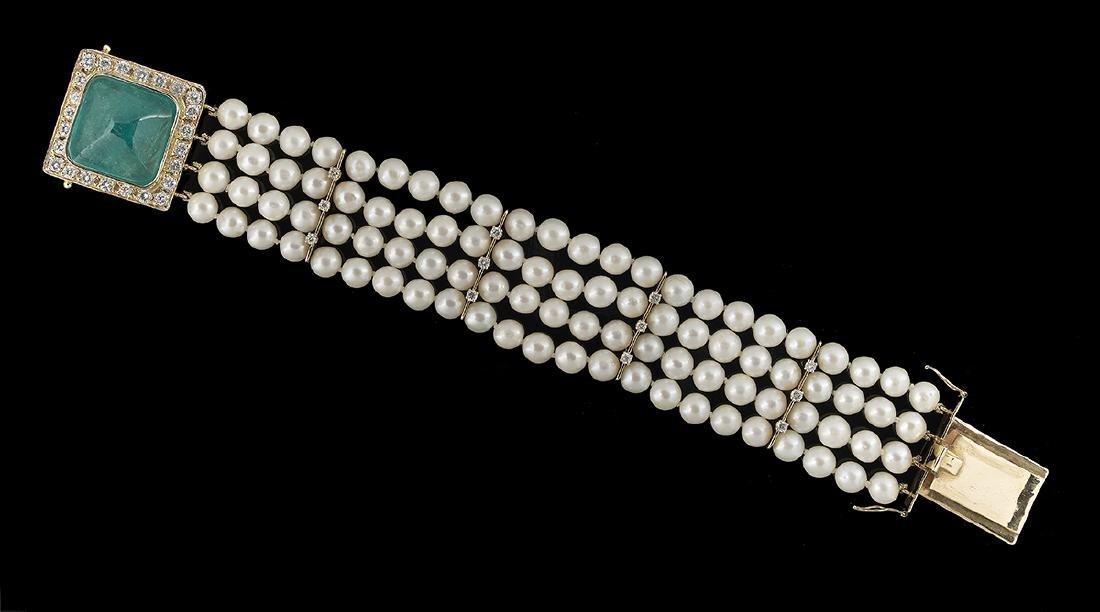 Pearl, Emerald and Diamond Bracelet
