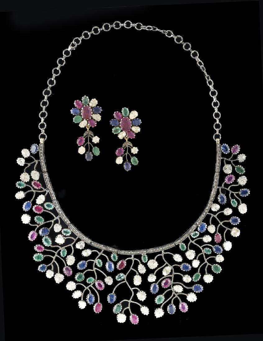 Multi-Stone Necklace and Earrings Suite