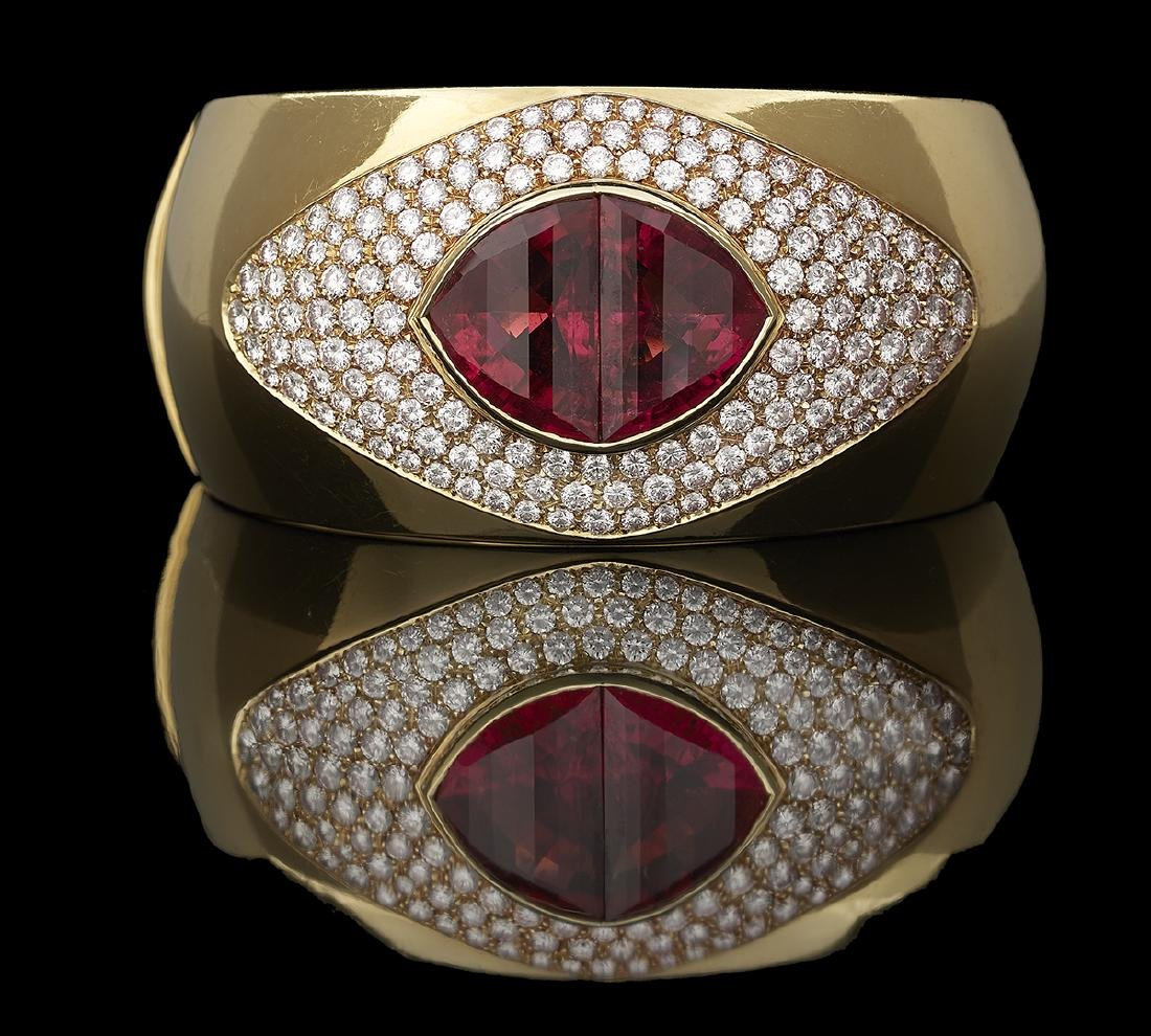 Rubellite and Diamond Bangle Bracelet