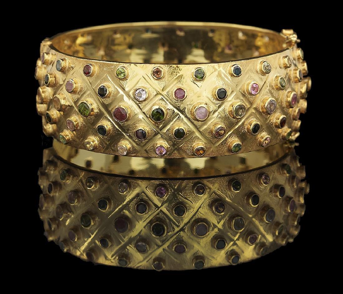 Multicolored Tourmaline Bangle Bracelet