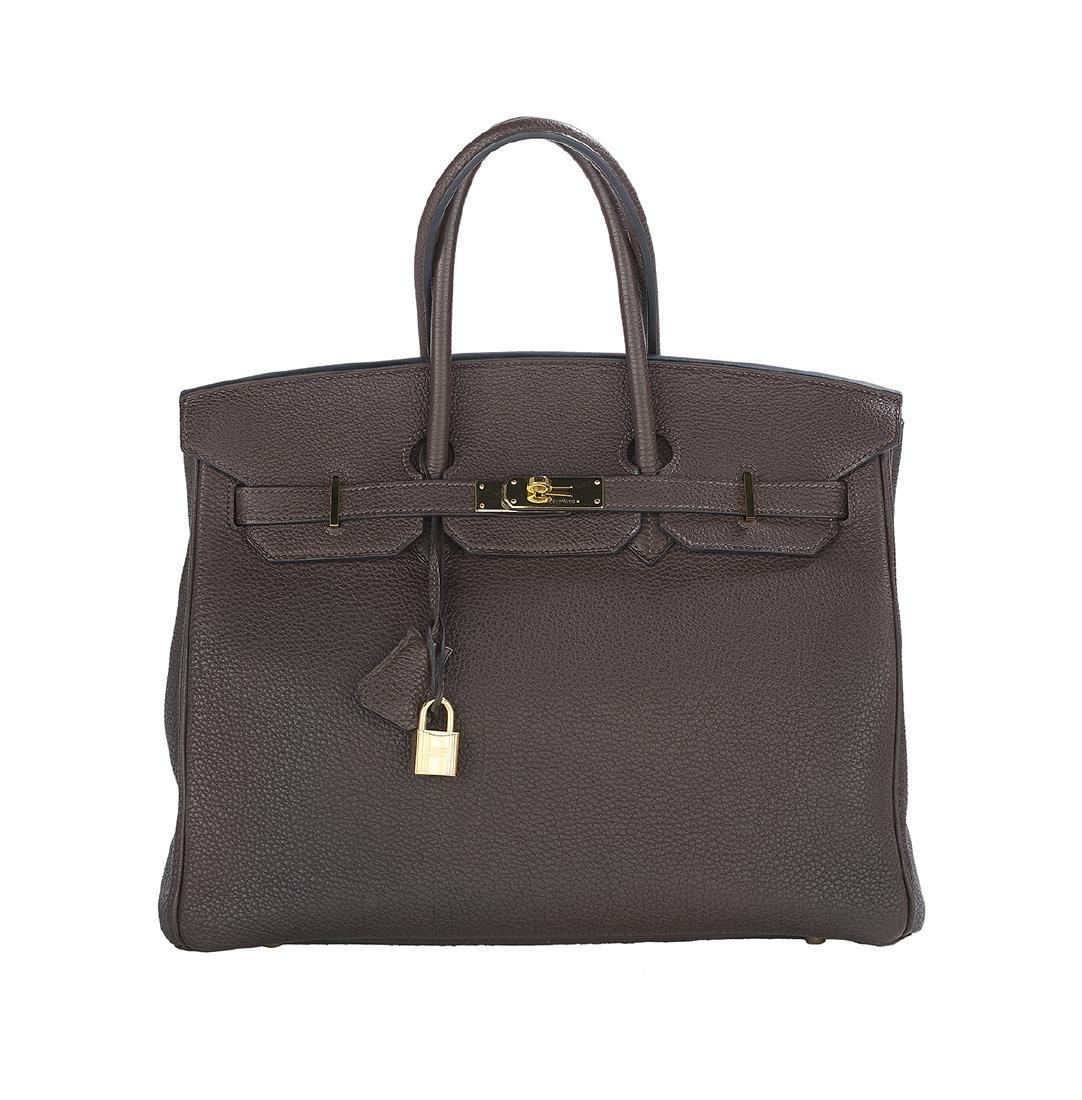 "Hermes ""Birkin 35"" Chocolat Fjord Leather Handbag"