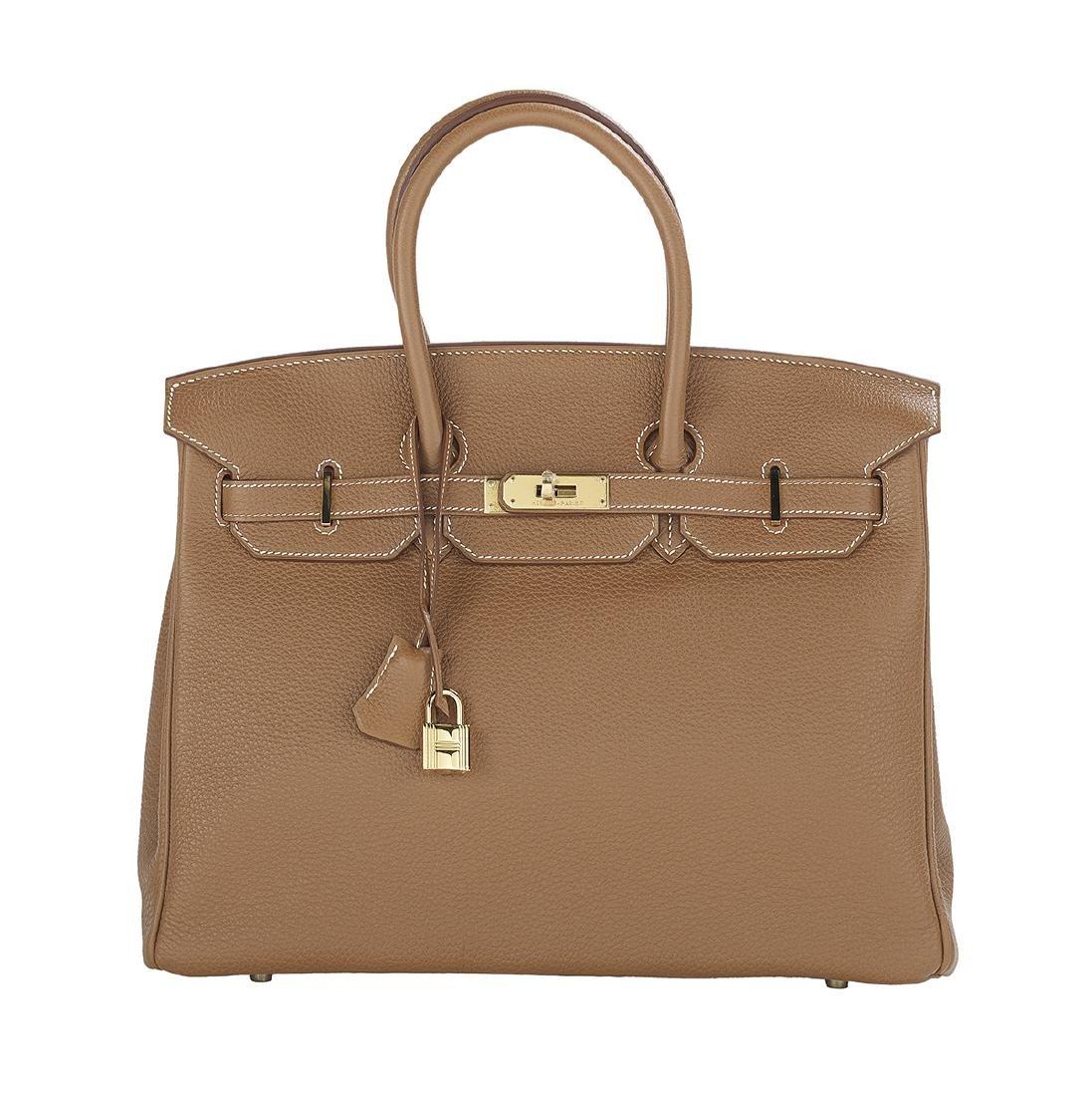 """Hermes """"Birkin 35"""" Gold Togo Leather Handbag"""