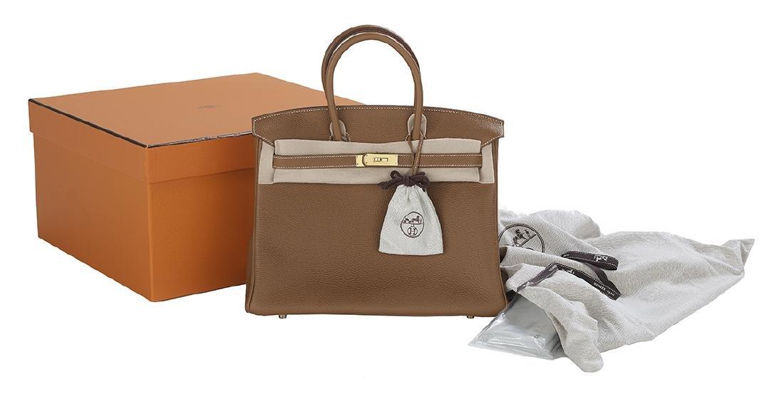 """Hermes """"Birkin 35"""" Gold Togo Leather Handbag - 2"""
