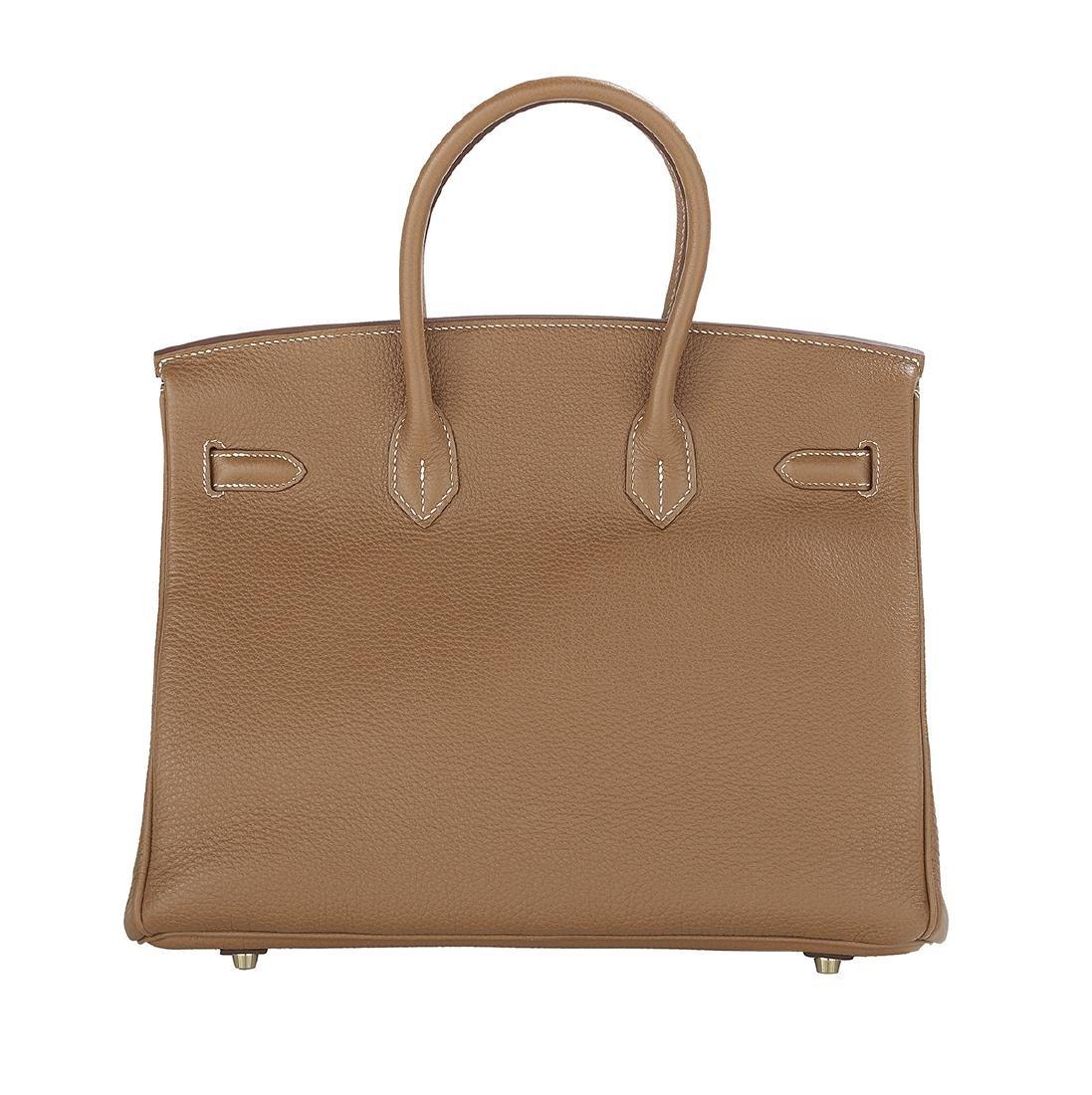 """Hermes """"Birkin 35"""" Gold Togo Leather Handbag - 3"""