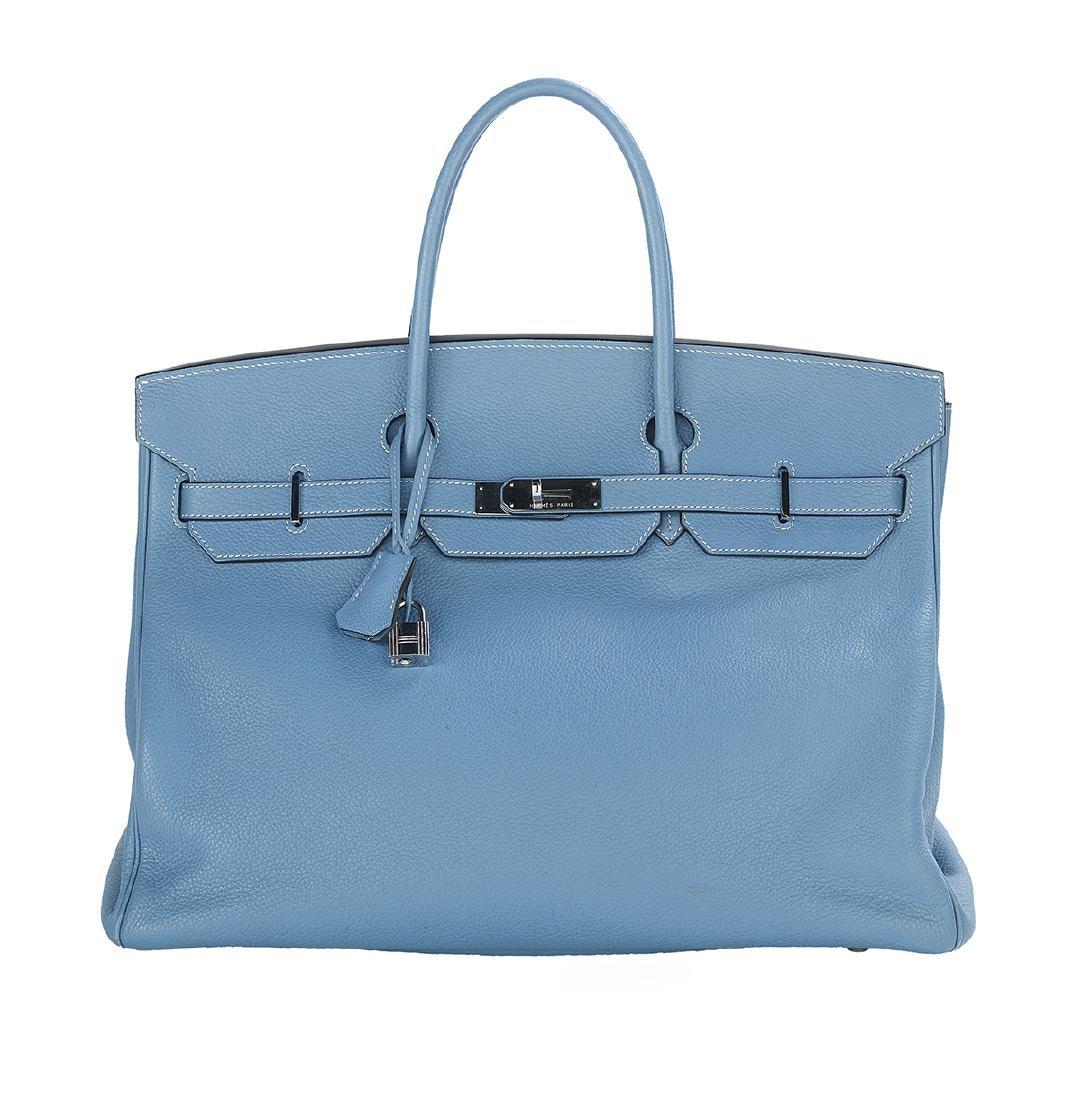 "Hermes ""Birkin 40"" Blue Jean Togo Leather Handbag"