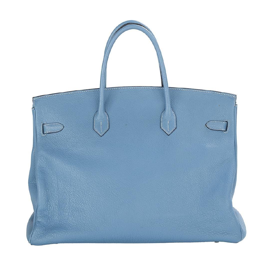 "Hermes ""Birkin 40"" Blue Jean Togo Leather Handbag - 2"