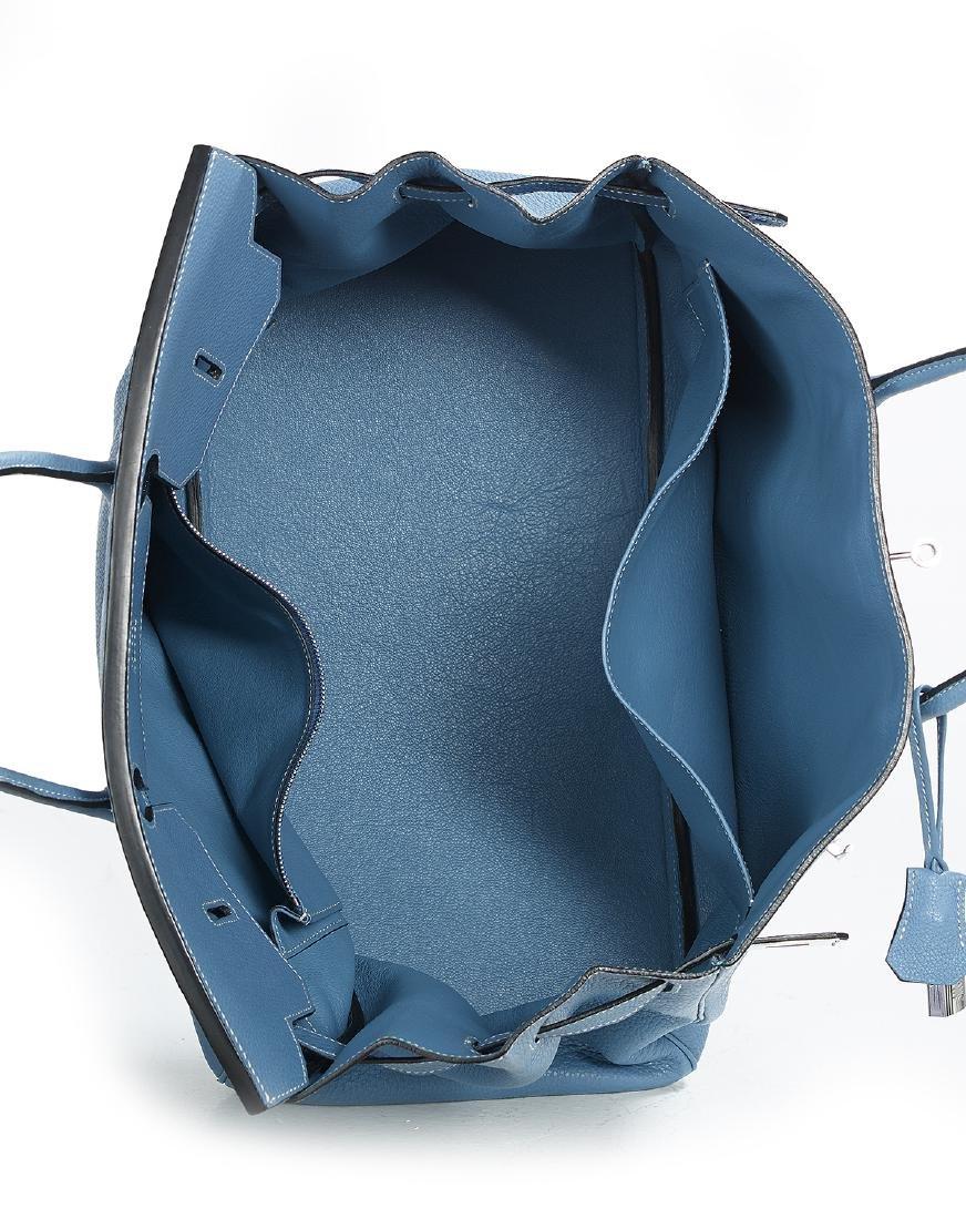 "Hermes ""Birkin 40"" Blue Jean Togo Leather Handbag - 3"
