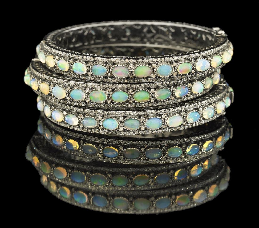 Three Opal and Diamond Bangle Bracelets
