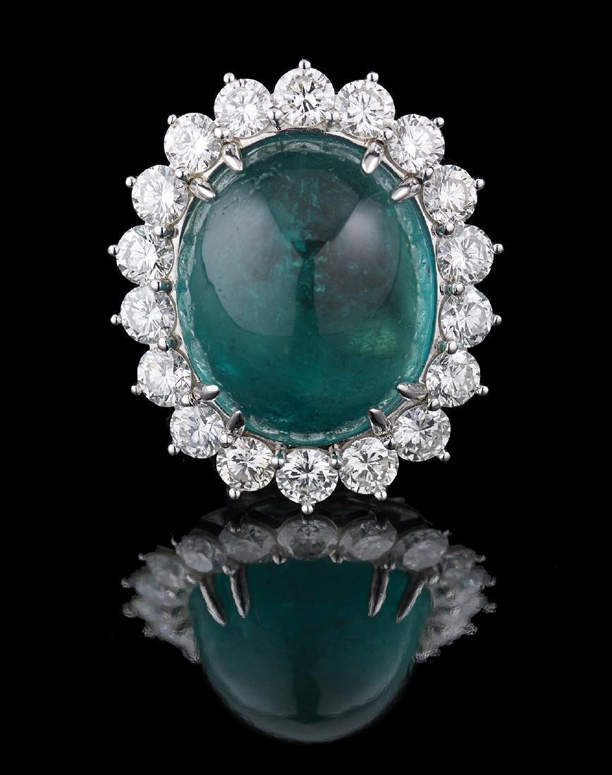 Stunning Natural Emerald and Diamond Ring