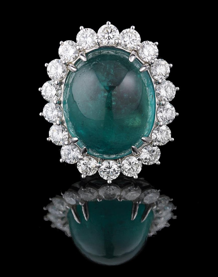 Stunning Natural Emerald and Diamond Ring