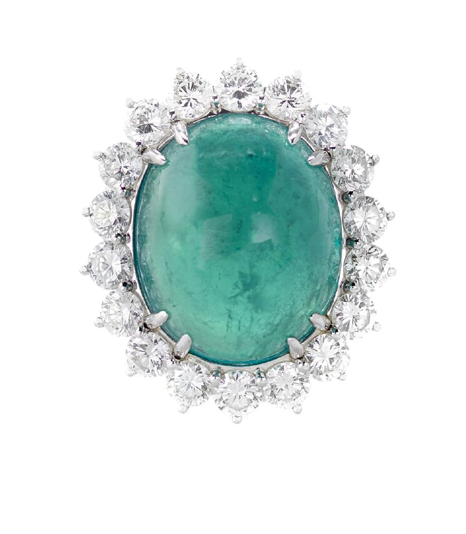 Stunning Natural Emerald and Diamond Ring - 2