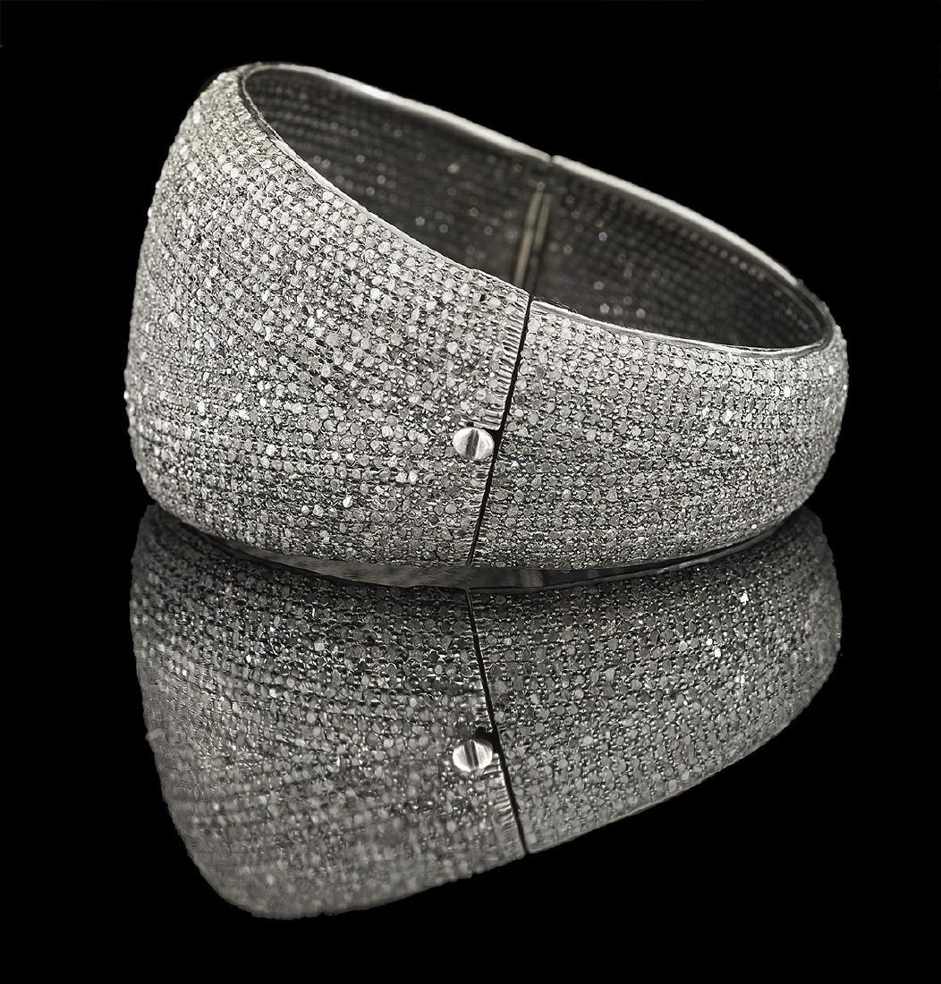 Wide Diamond Bangle Bracelet - 2