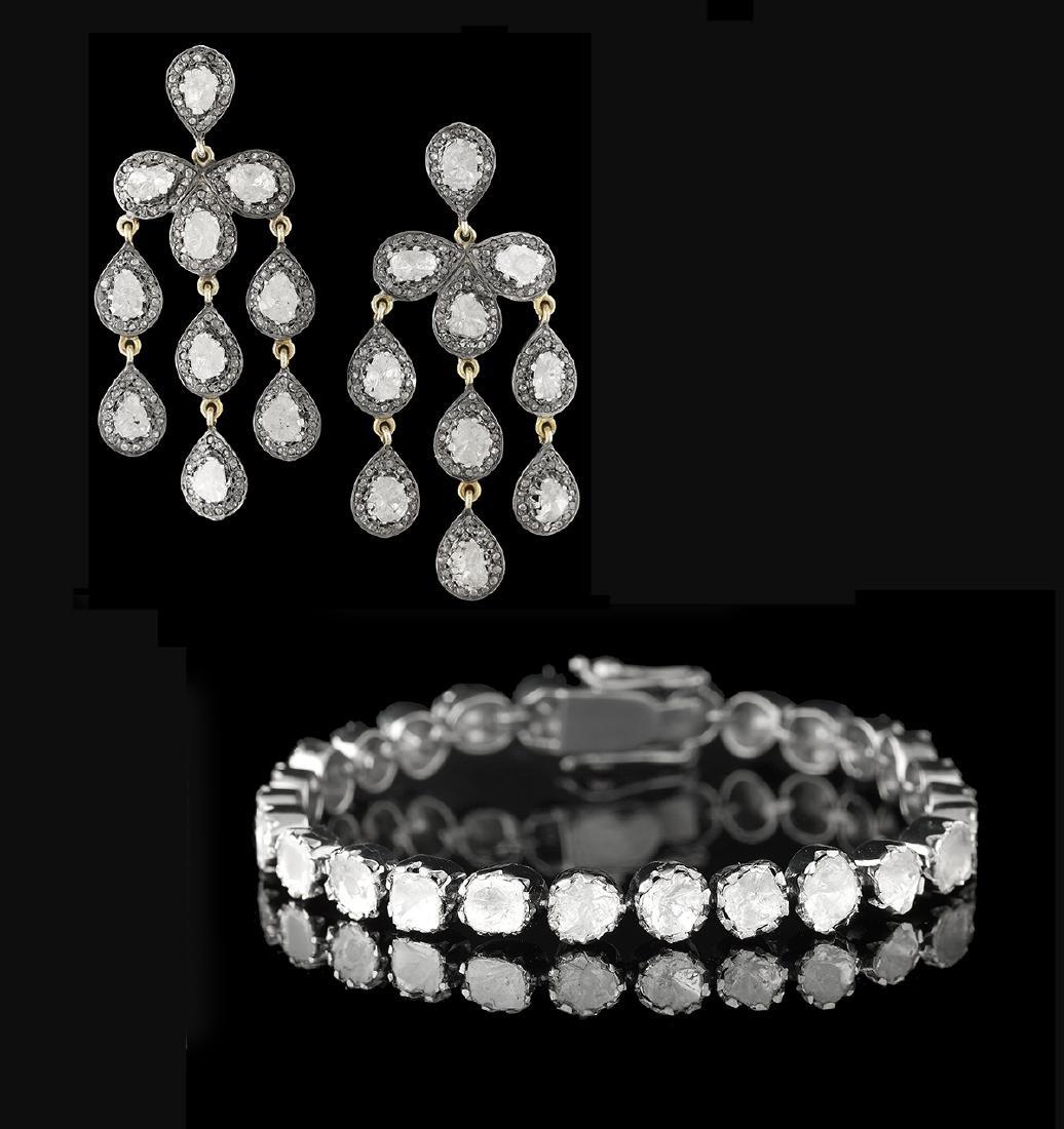 Diamond Bracelet and Earrings