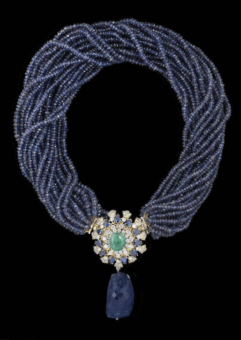Iolite, Emerald and Sapphire Necklace/Brooch