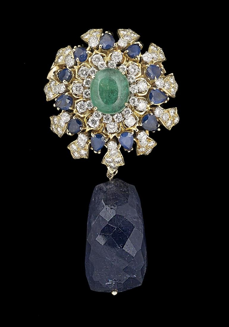 Iolite, Emerald and Sapphire Necklace/Brooch - 2
