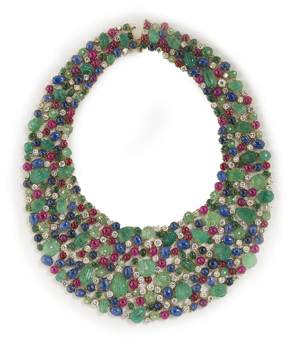 Fred Leighton Gemstone and Diamond Bib Necklace - 2