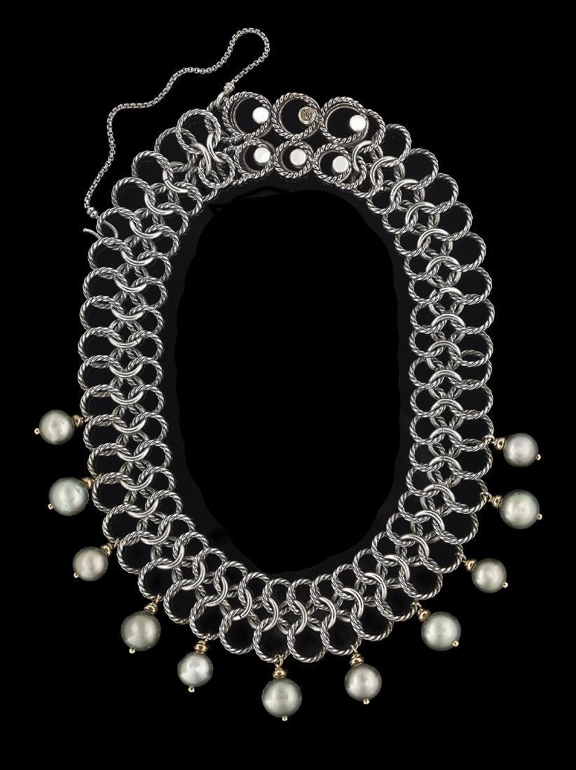 "David Yurman ""Chainmail"" Tahitian Pearl Necklace"