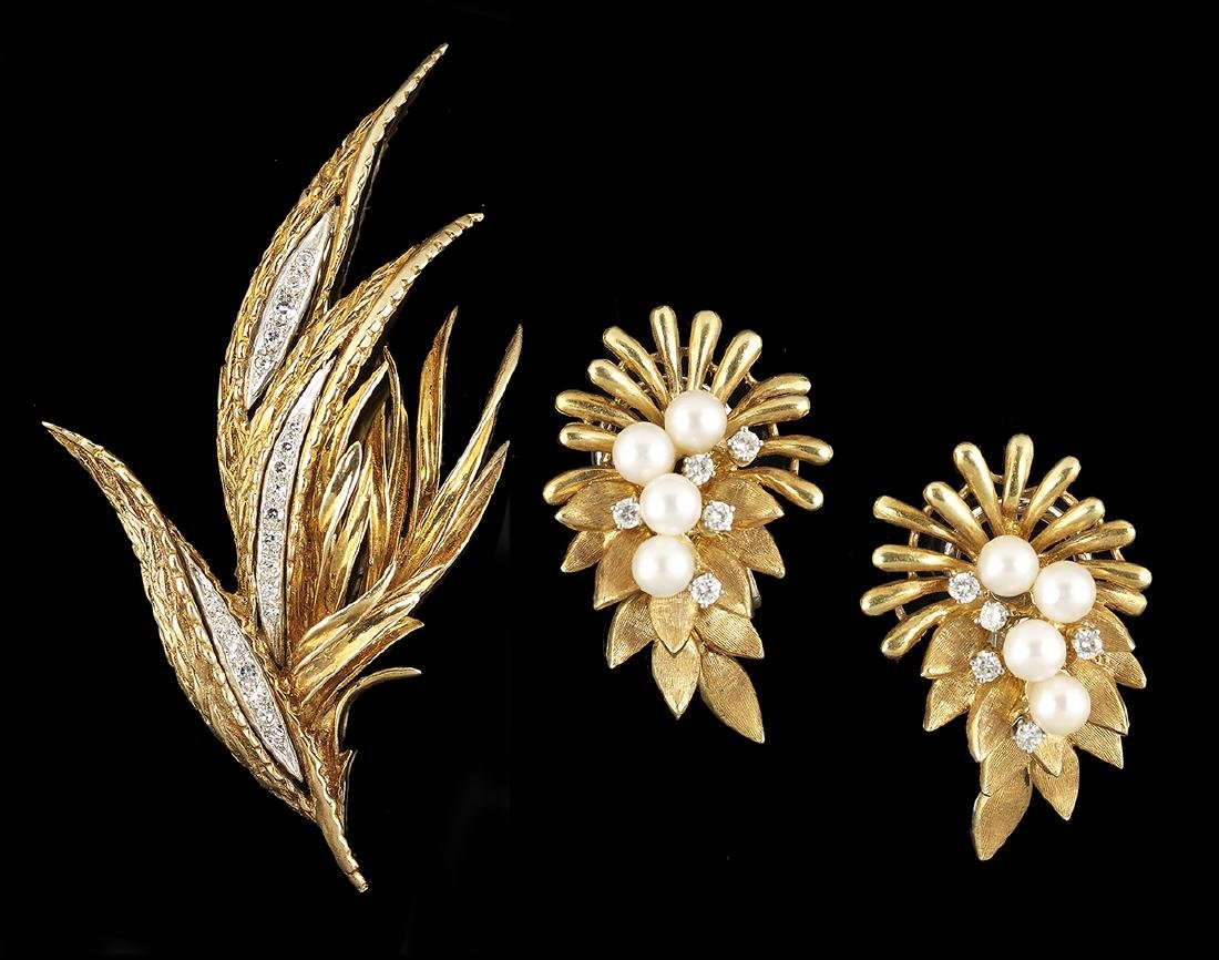 Diamond and Pearl Earrings and Brooch