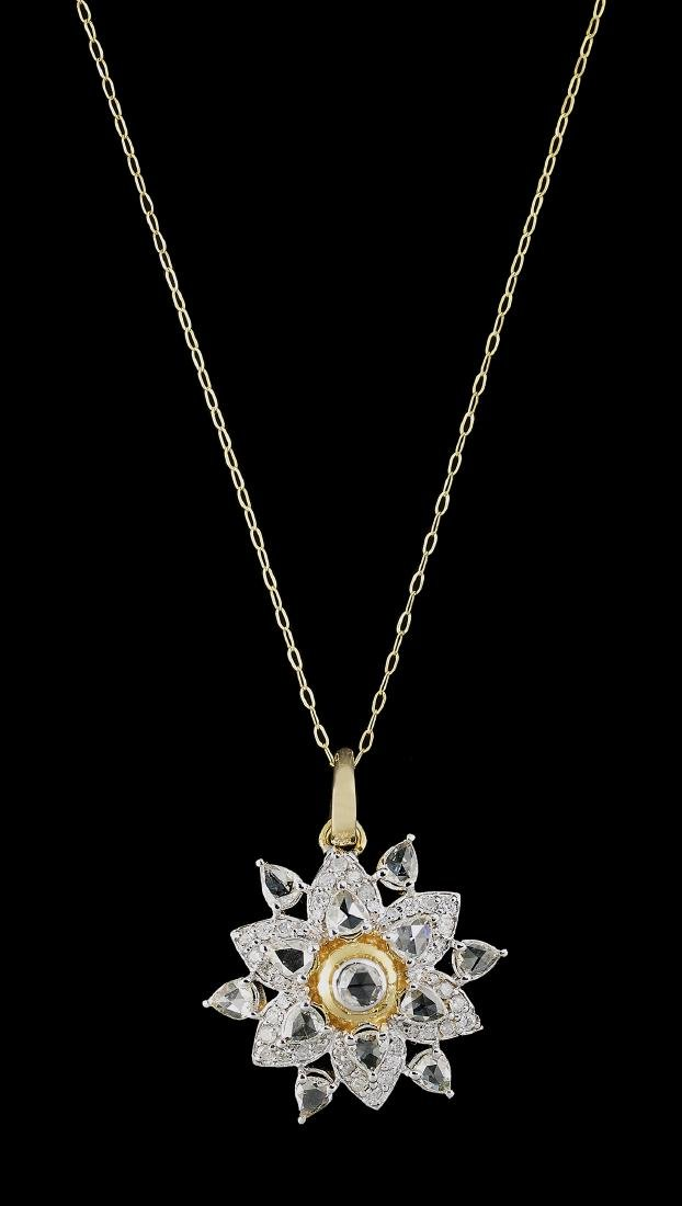 Rose-Cut Diamond Pendant with Chain