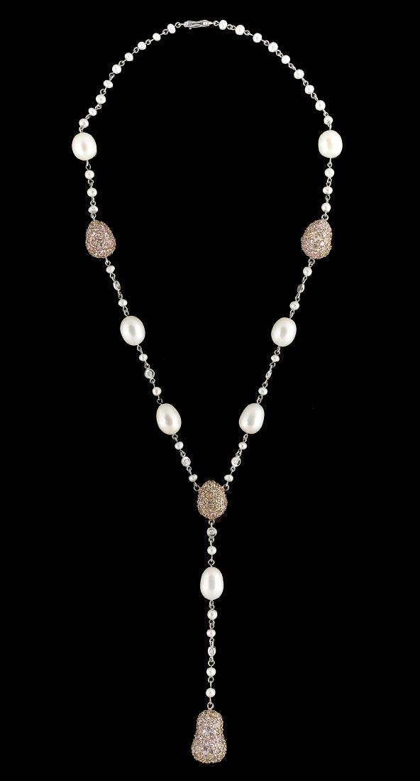 Pearl, Pink Sapphire and Diamond Necklace