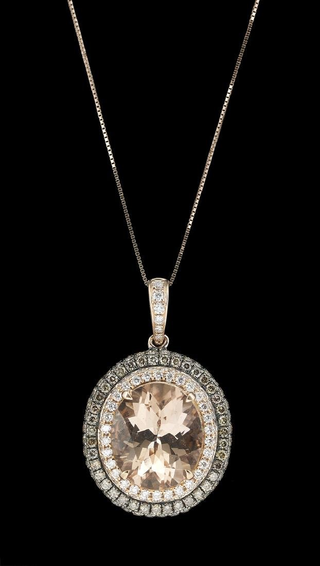 Morganite and Diamond Pendant with Chain