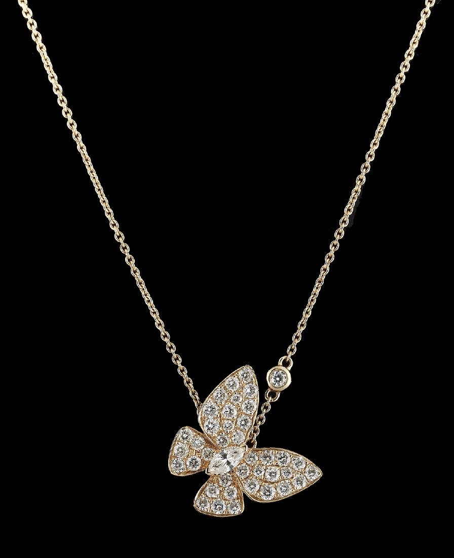 Diamond Butterfly Pendant with Chain