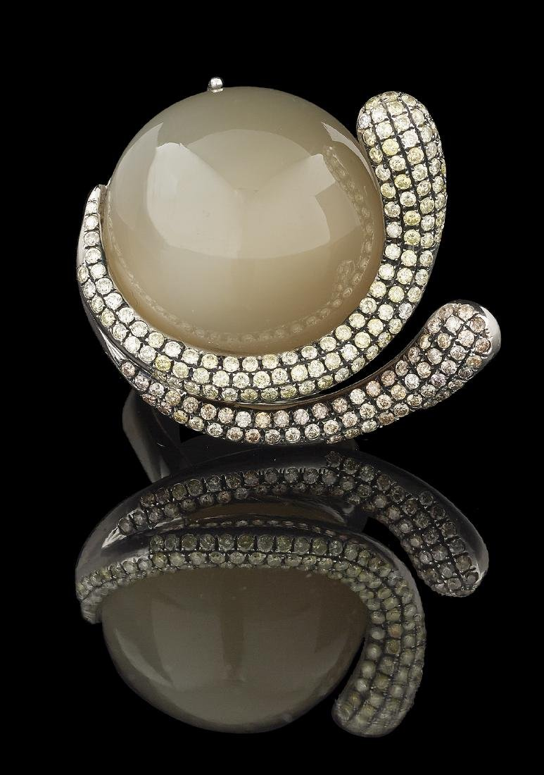 Bold Moonstone and Diamond Ring