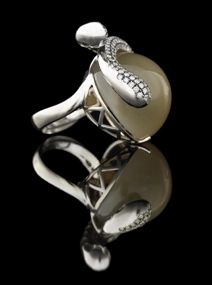 Bold Moonstone and Diamond Ring - 2