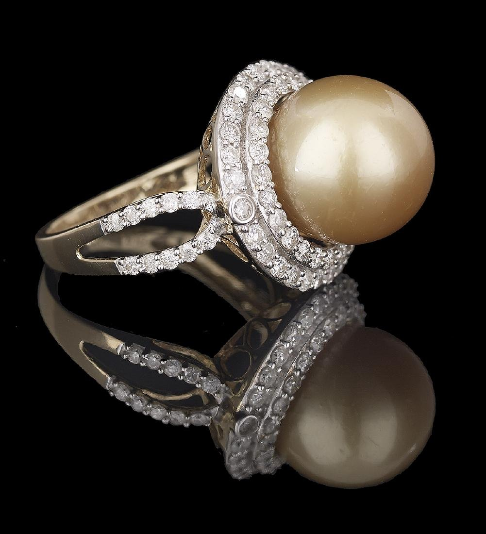 South Sea Pearl and Diamond Ring - 2
