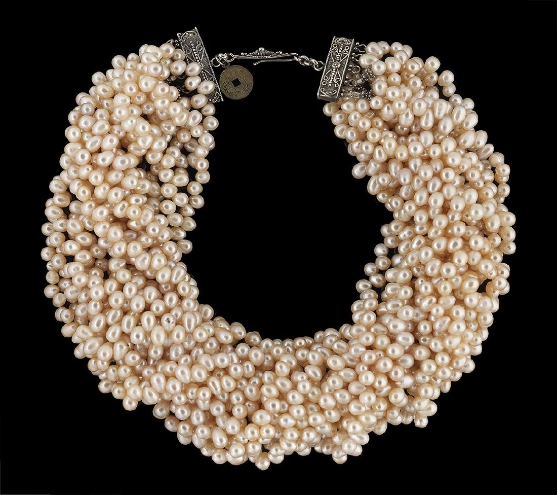 Fifteen-Strand Baroque Pearl Necklace