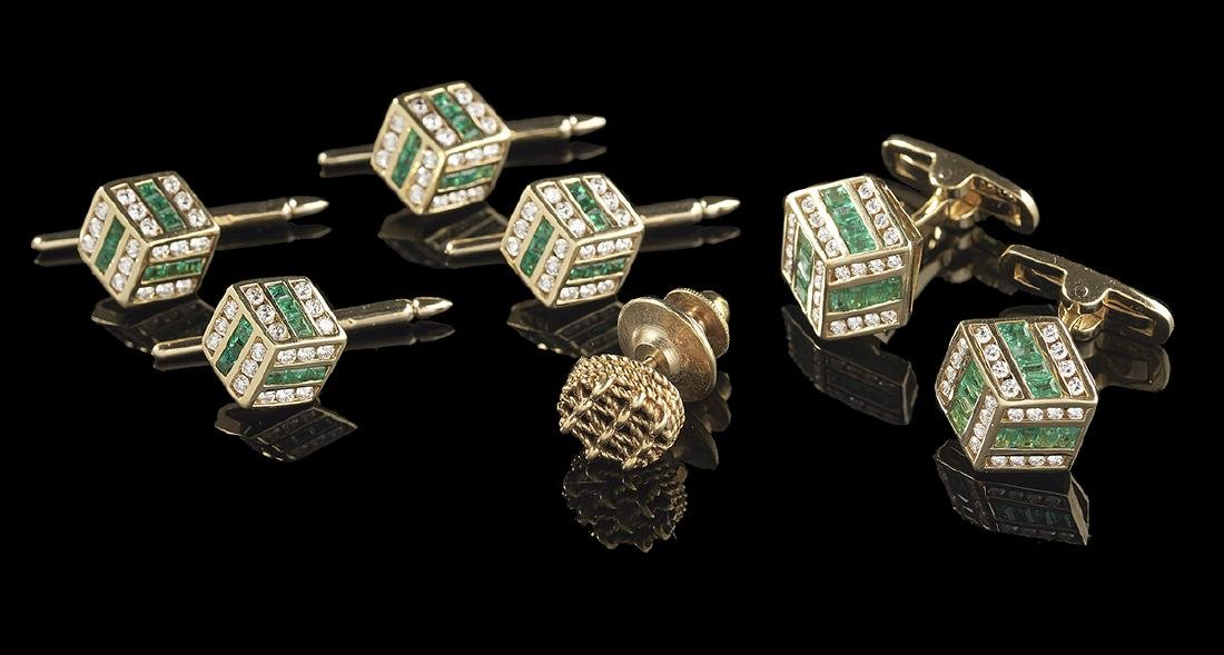 Emerald and Diamond Cufflink/Stud Set