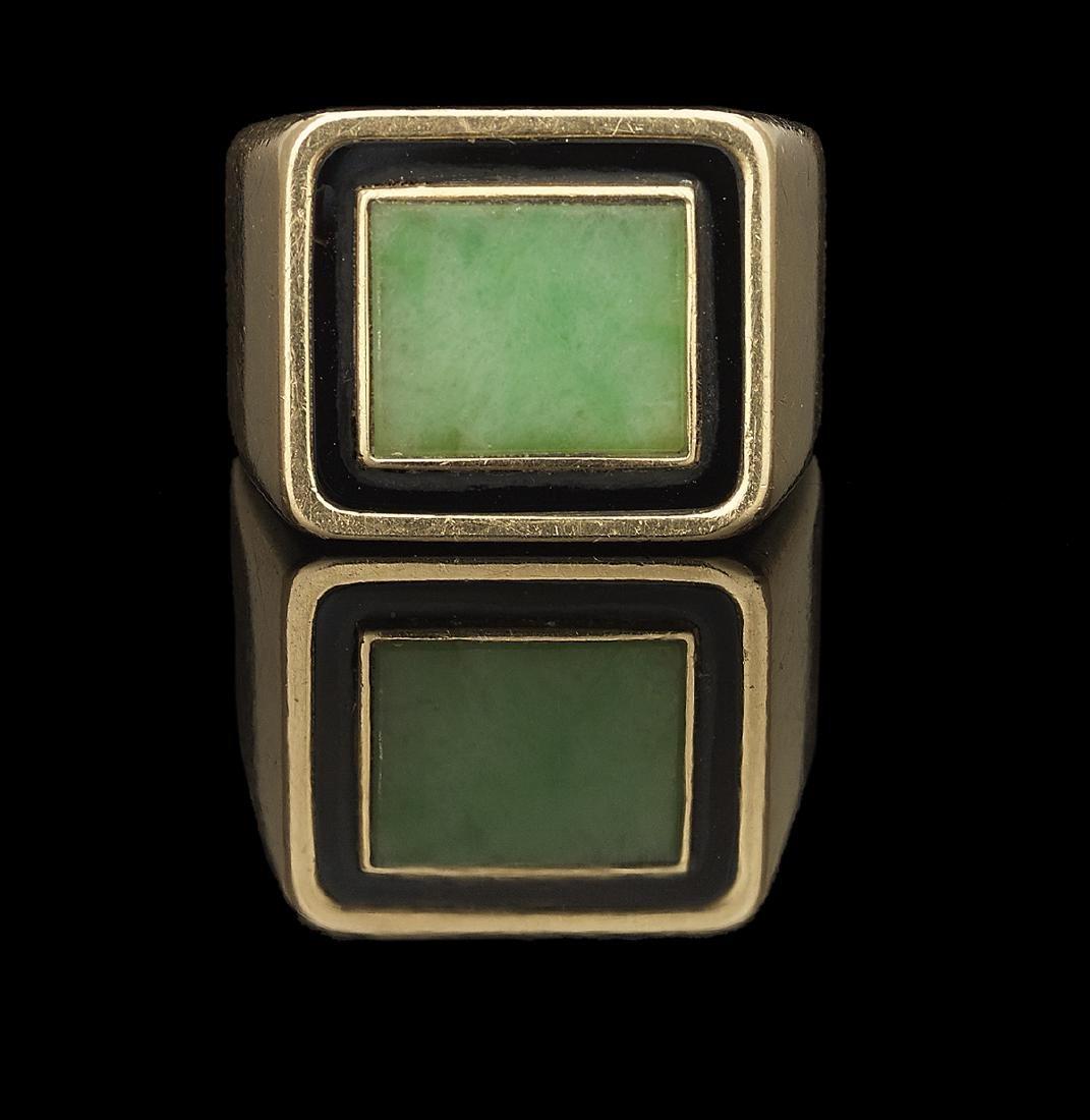 Gentleman's Jade and Onyx Ring