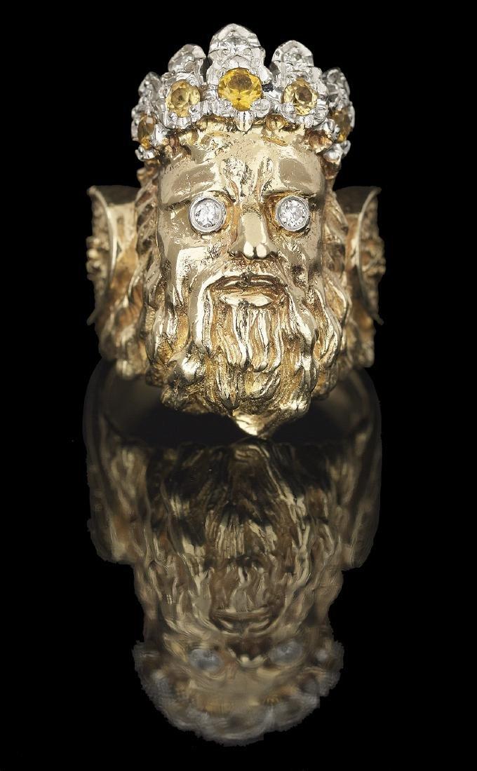 Men's Diamond and Yellow Sapphire Ring