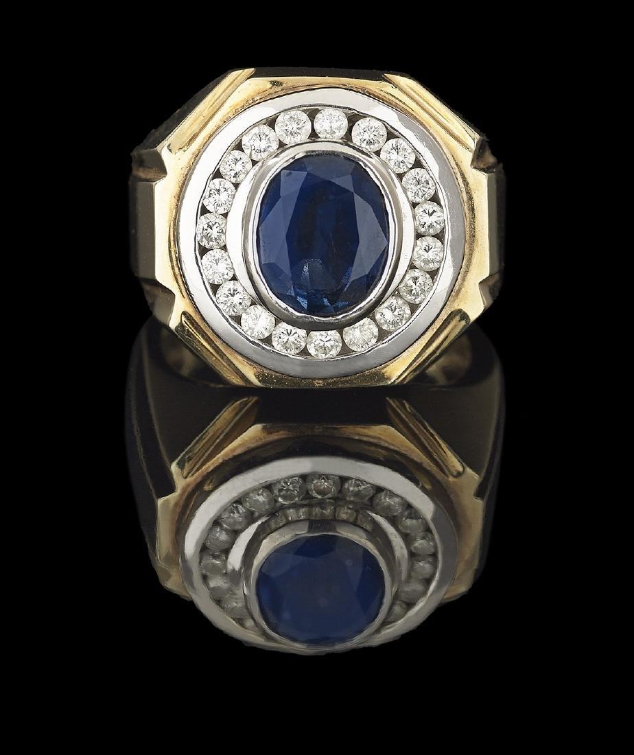 Gentlemen's Sapphire and Diamond Ring