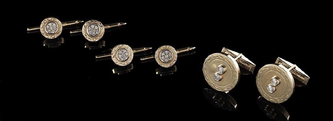 Gold and Diamond Cufflink/Stud Set
