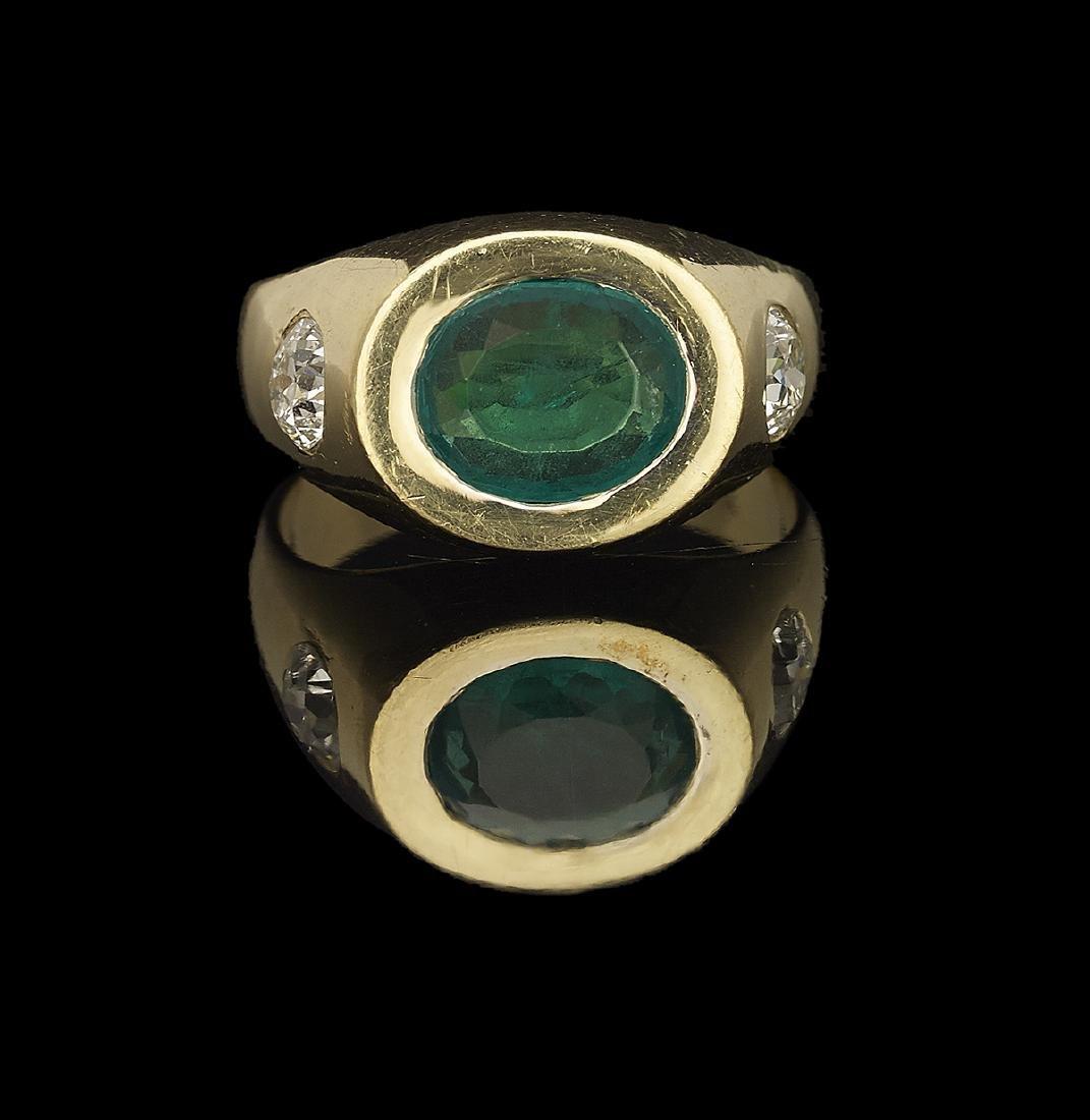 Gentleman's Emerald and Diamond Ring