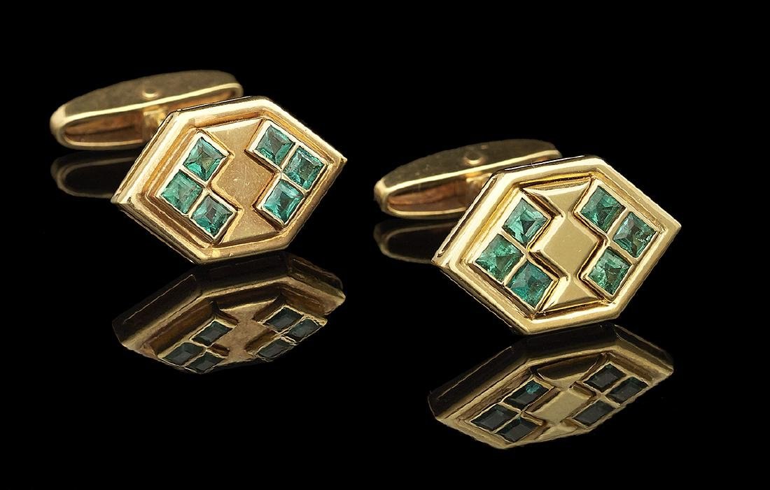 Gold and Emerald Cufflinks